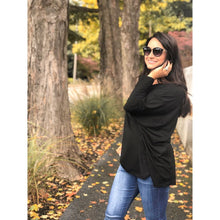 Load image into Gallery viewer, Black Long Sleeve Dolman Top - Top