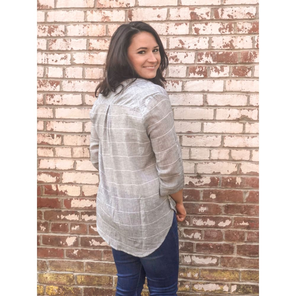 Grey Plaid Twisted Shirt - Top