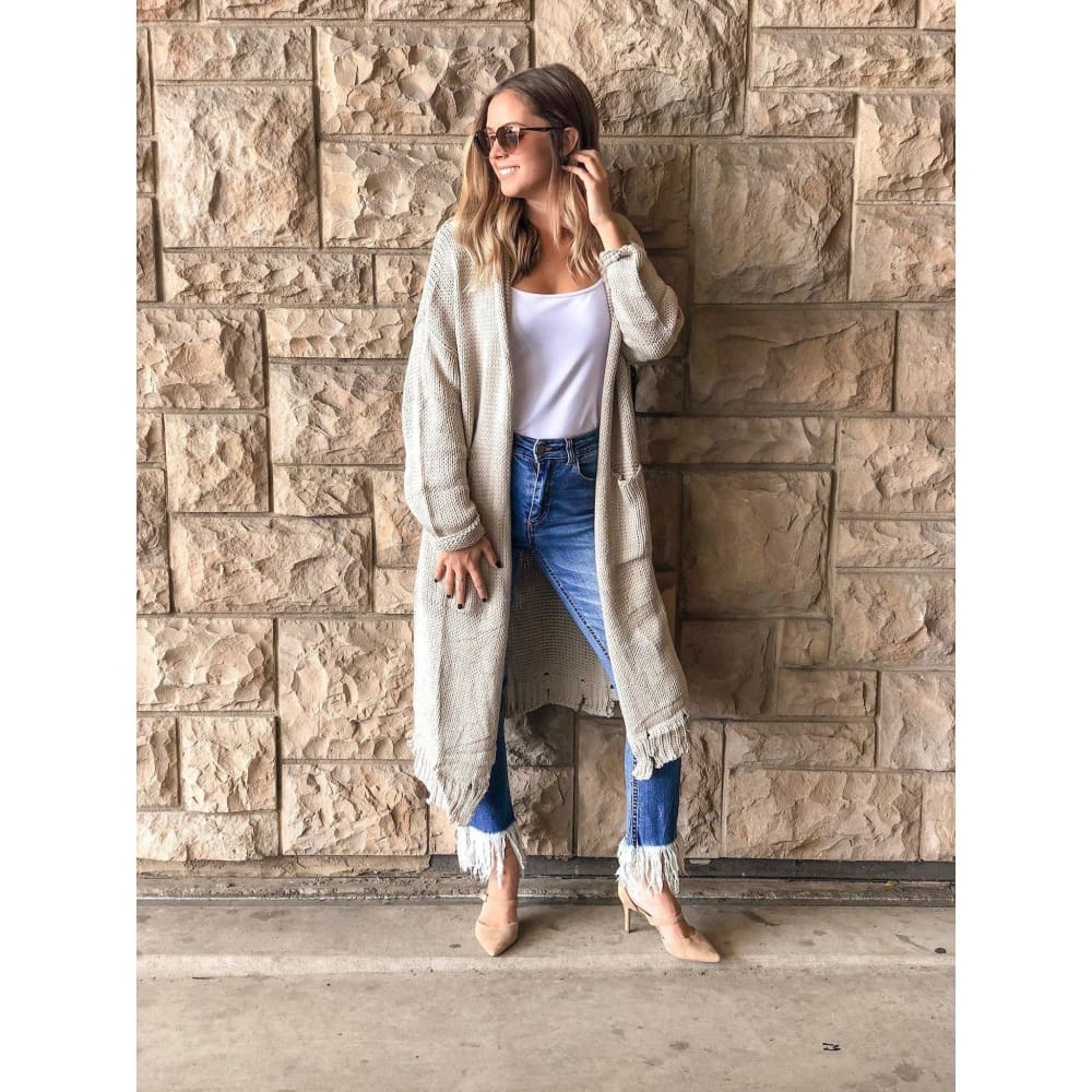 Silver Grey Distressed Knit Sweater Duster - Sweater