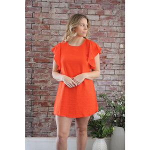 Flutter Sleeve Mini Dress - Dress