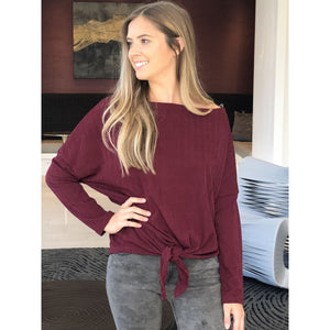 Burgundy Ribbed Sweater - Top