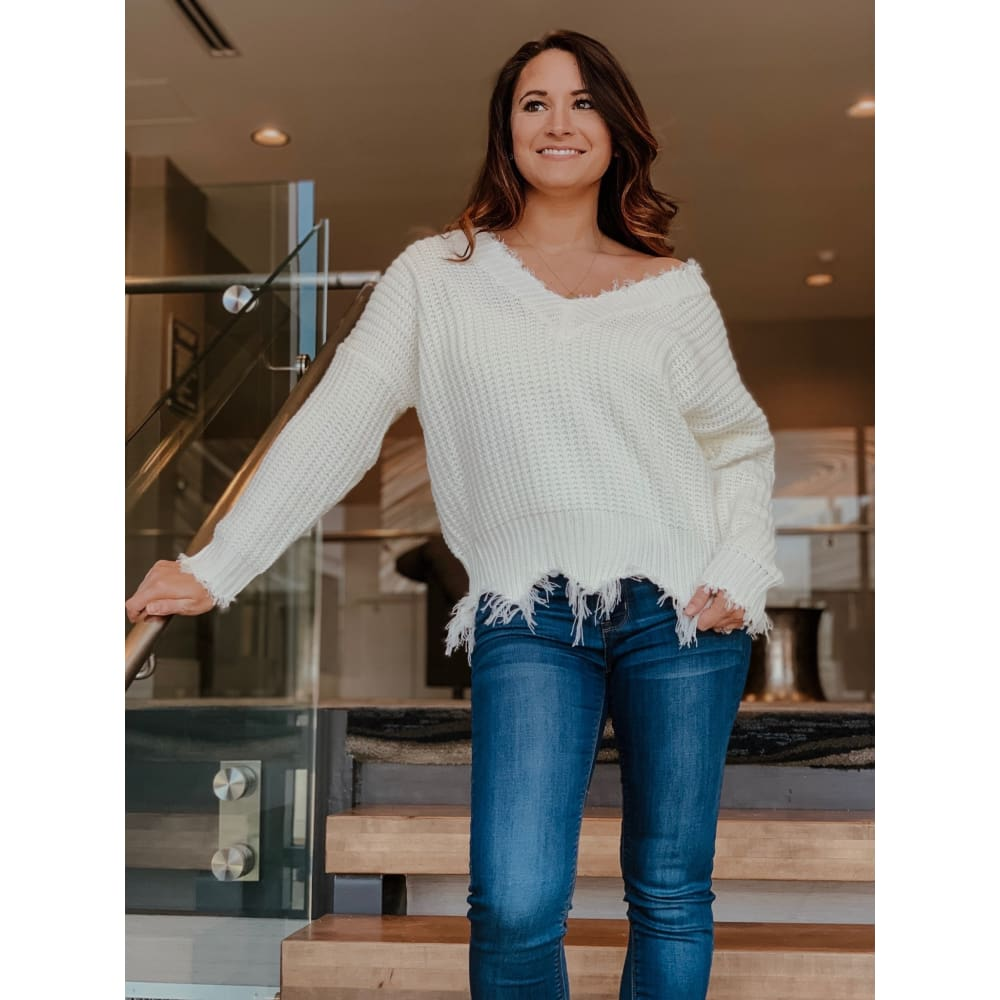 White Frayed V-Neck Sweater - Sweater