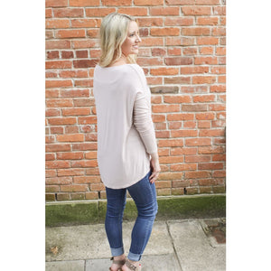 deep v-neck long sleeve - Top