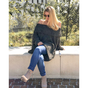 Olive Off Shoulder Sweater - Sweater