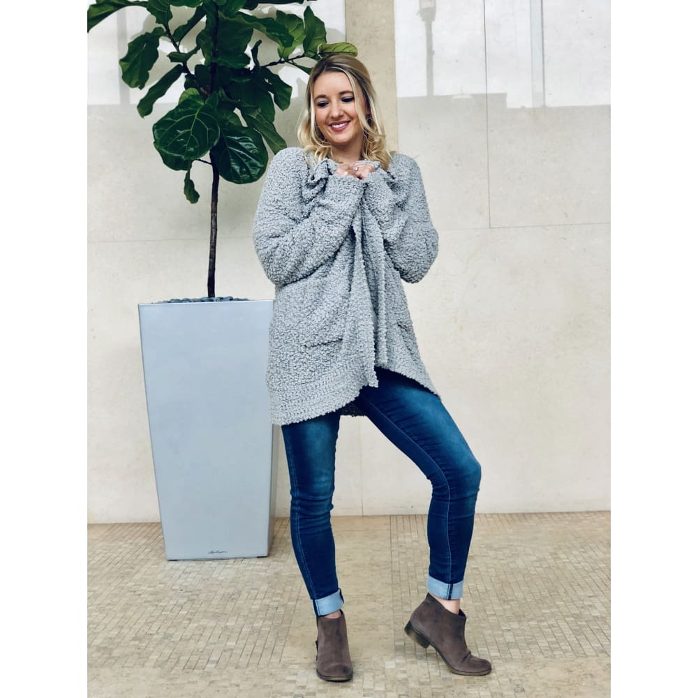Cozy Grey Knit Cardigan - Sweater