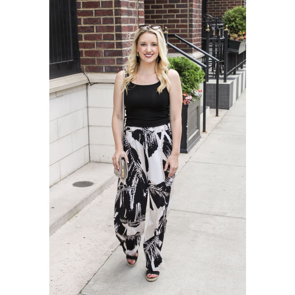Leaf Palazzo Pants - Bottoms