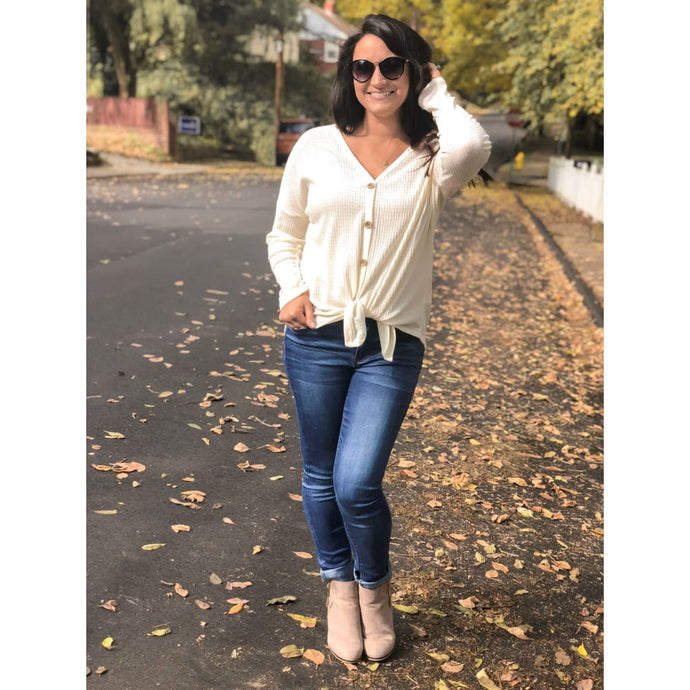 Ivory Long Sleeve Knit Top - Top