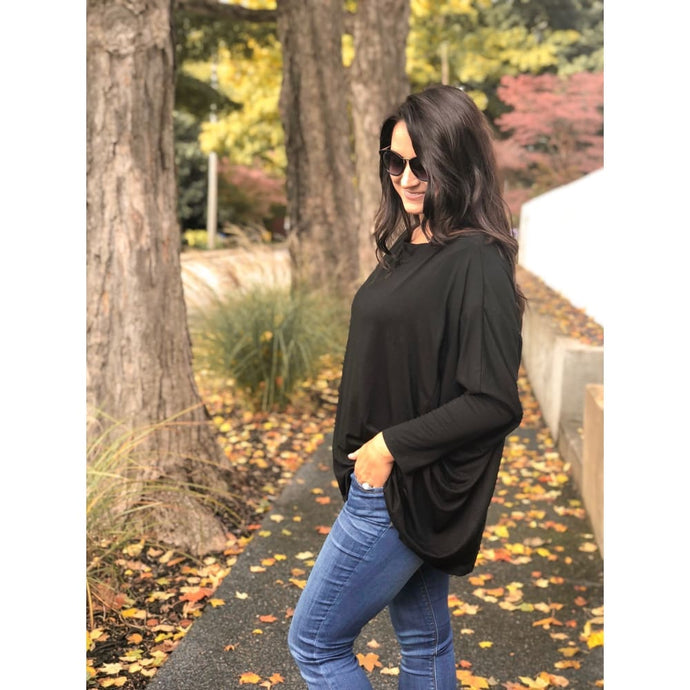 Black Long Sleeve Dolman Top - Top