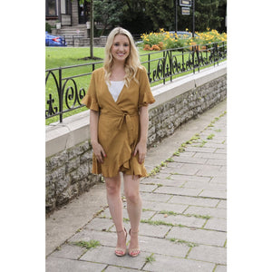 Mustard Ruffle Wrap Dress - Dress