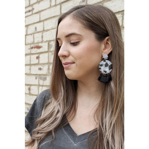 Black and White Tassel Earring - Earrings
