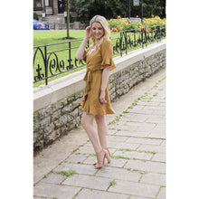 Load image into Gallery viewer, Mustard Ruffle Wrap Dress - Dress