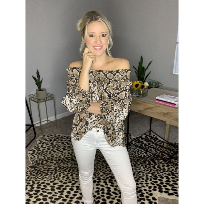 Snake Print Off the Shoulder Top - Top