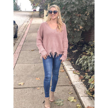 Load image into Gallery viewer, Mauve Frayed V-Neck Sweater - Sweater
