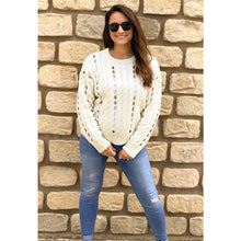 Load image into Gallery viewer, Ivory Long Sleeve Knit Pullover - Top