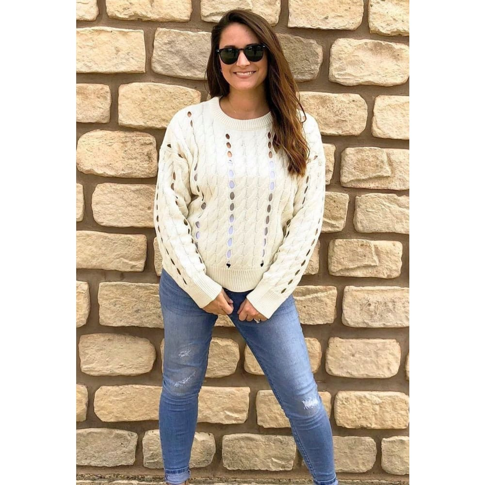 Ivory Long Sleeve Knit Pullover - Top