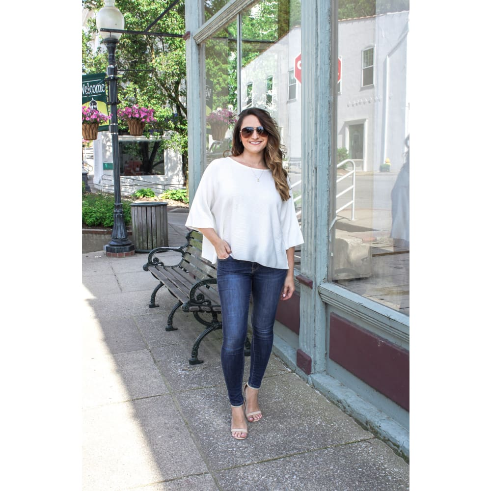 Cream Cropped Knit Top - Top