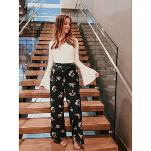 Hunter Green Wide Leg Floral Print Pants - Bottoms