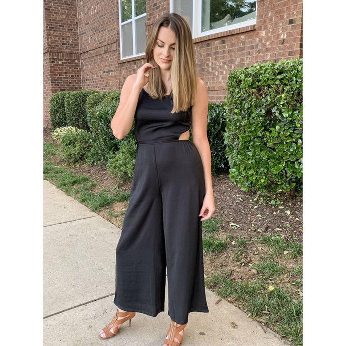 Black Satin Jumpsuit - Jumpsuit