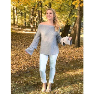 Joselle Off The Shoulder Grey Sweater - Sweater