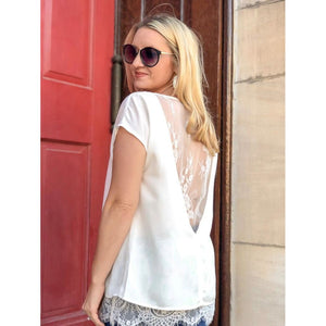 White Lace Hem Top - Top