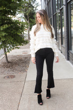 Load image into Gallery viewer, Black Mid Rise Crop Flared Jeans