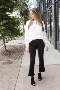 Black Mid Rise Crop Flared Jeans