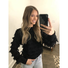 Load image into Gallery viewer, Black Fringe Sweater - Sweater