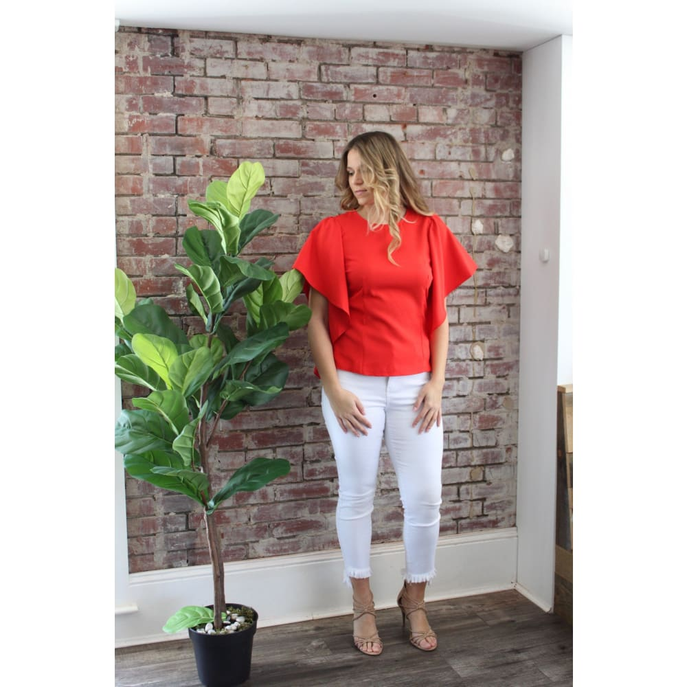 Red Cascading Ruffle Dart Top - Top