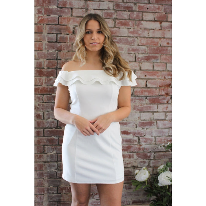 White Ruffle Dress - Dress