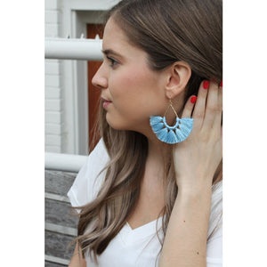 Blue Drop Fringe Earrings