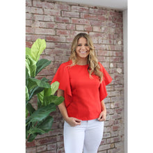 Load image into Gallery viewer, Red Cascading Ruffle Dart Top - Top