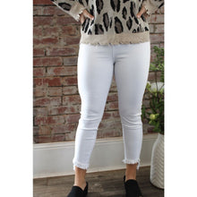 Load image into Gallery viewer, Pearl White Frayed Skinny Jeans - Bottoms