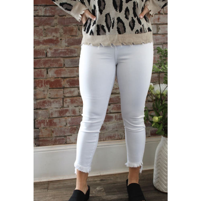 Pearl White Frayed Skinny Jeans - Bottoms