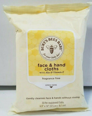 Burt's Bees Face & Hand Cloths, Fragrance Free