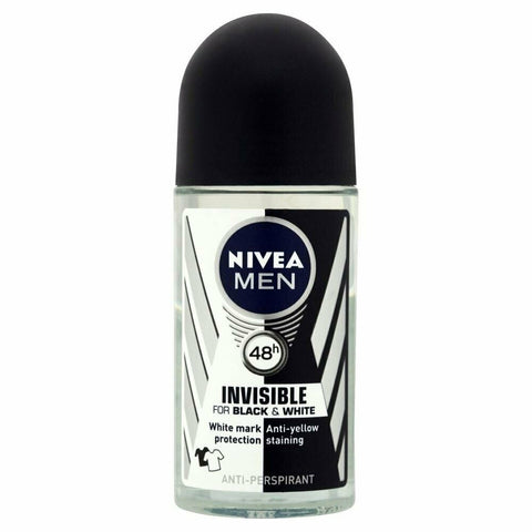 Nivea Men Invisible for Black & White Anti-Perspirant Deodorant  Roll-On 50ml