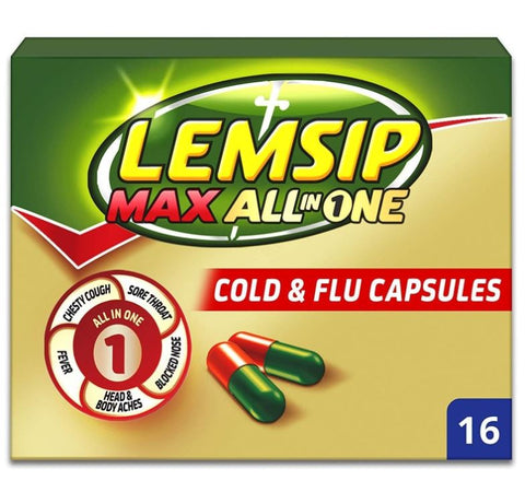 Lemsip Max All in One Cold + Flu Capsules 16s