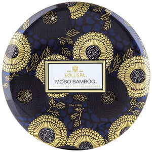 Voluspa 3 Wick Candle Decorative Tin Moso Bamboo 12 oz