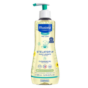Mustela Stelatopia, Cleansing Oil, Baby Body Wash for Eczema, Prone Skin, with 98% Natural Ingredients, Tear Free, 16.9 Fl Oz
