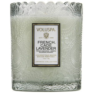 Voluspa SCALLOPED EDGE EMBOSSED GLASS CANDLE French Cade Lavender
