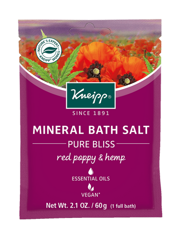 "Mini Red Poppy & Hemp Mineral Bath Salt - ""Pure Bliss"""