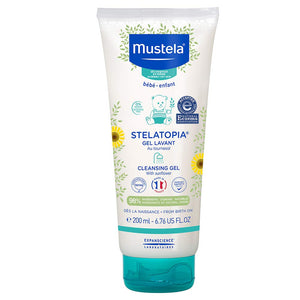 Mustela Stelatopia - Cleansing Gel - Baby Cleanser Face & Body Wash - For Eczema-Prone Skin - with Natural Avocado - Tear Free - 6.76 fl. oz.