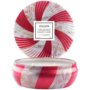 Voluspa Crushed Candy Cane 3 Wick Candle In Decorative Tin 12 Oz