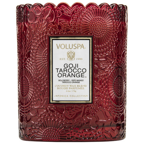 Voluspa SCALLOPED EDGE EMBOSSED GLASS CANDLE Goji Tarocco Orange