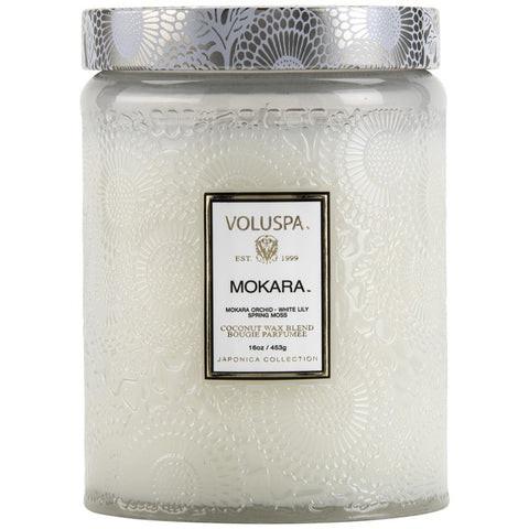 LARGE EMBOSSED GLASS JAR CANDLE Mokara