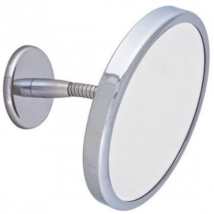 Frasco 7 1/2 inch Round Chrome Swan Neck Wall Mounted Mirror (3X)
