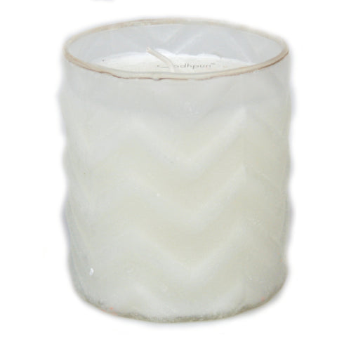 Fresh Linen Scented Candle with Chevron Salt Finish - 8 ounce - Jodhshop