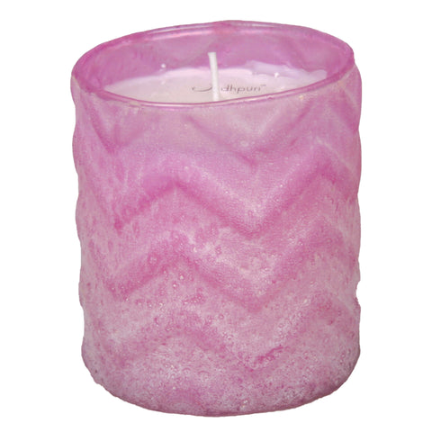 Lavender Scented Candle with Chevron Salt Finish - 8 ounce - Jodhshop