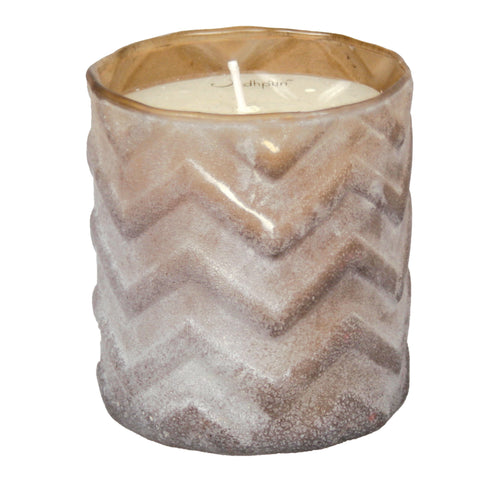 Vanilla Scented Candle with Chevron Salt Finish - 8 ounce - Jodhshop