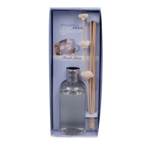 Decorative Fresh Linen Oil Diffuser with Reeds - 7 ounces - Jodhshop