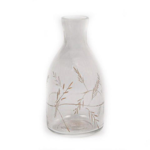Small Clear Vase with Etched Gold Leaf Design - 3 x 3 x 6 inches - Jodhshop